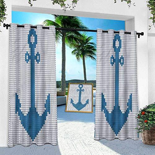 Patio Outdoor Curtain, Anchor,Needlework Stitch Style Icon, 52' x 95' Heavy Duty Indoor Panel for Porch Balcony Pergola Canopy Tent Gazebo Window(1 Panel)