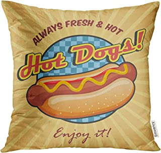 Emvency Throw Pillow Cover Red Hotdog American Hot Dog Sandwich with Ketchup and Mustard Yellow Food Decorative Pillow Case Home Decor Square 18x18 Inches Pillowcase