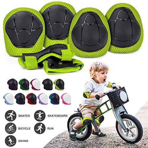 Protecciones Niños Conjuntos, Ajustable Coderas y Rodilleras para Niños, 6 en 1 Muñequeras Conjuntos de Patinaje Infantil Juego para Skate Ciclismo Patinaje Monopatín Bicicleta Skate Rodilleras Verde