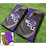 Western Carolina Catamounts WCU Swoosh Themed Cornhole Wraps Board Set Bean Bag Toss + 8 ACA Regulation Bags ~ Made in The USA