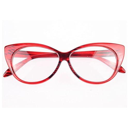 f89e74e968 NoyoKere Women Cat Eye Glasses Frames Striped Retro Eyeglasses Ladies  Vintage Plain Spectacles Frame Clear Lens