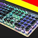 keyboard Teclado mecánico de Vapor Retro Metal Swing Game Teclado Llave de la Llave Redonda 104 Key Green Shaft Pullout Shaft,Blanco,520 * 230 * 65 mm