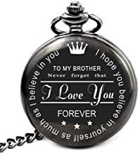 LEVONTA Brother Birthday Gifts from Sister or Brother, to My Brother Pocket Watch, Brother Gifts Ideas for Christmas Graduation (to Brother Roman)