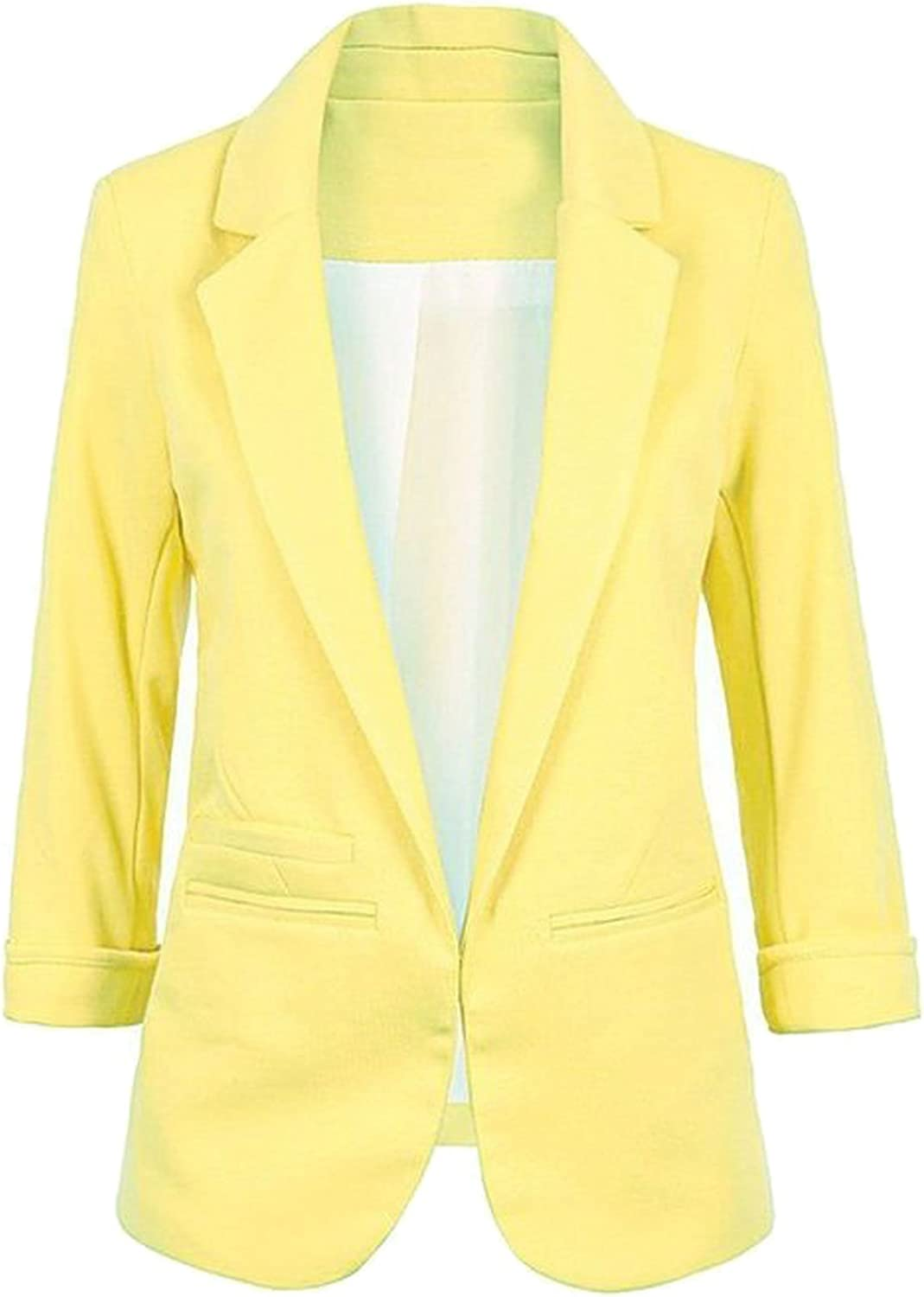 FACE N FACE Women's Cotton Rolled up Sleeve NoBuckle Blazer Jacket Suits