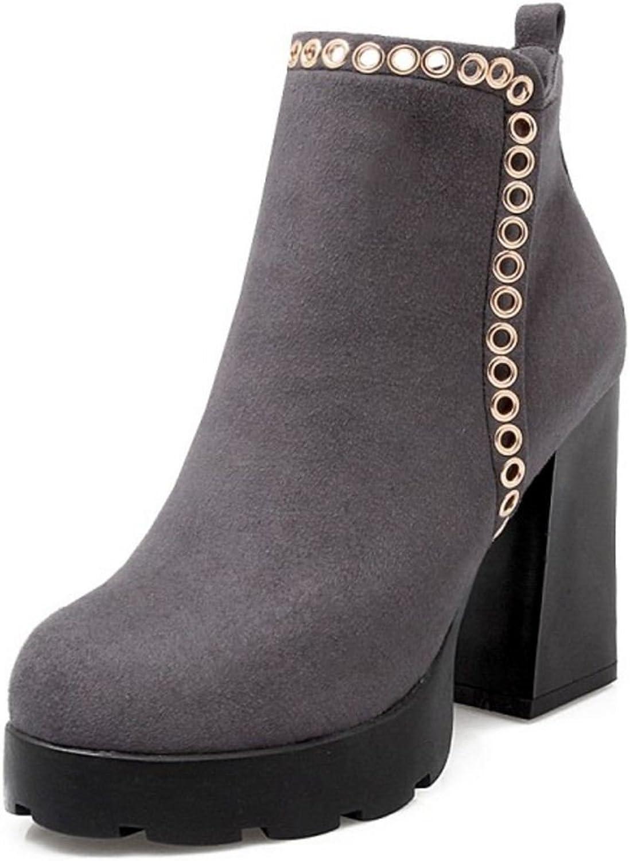 KemeKiss Women Comfort Block High Heel Ankle Boots Chunky Heel