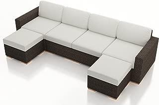 Harmonia Living HL-ARD-CH-6SEC-CN 6 Piece Arden Sectional Set, Canvas Natural Cushions