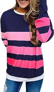 Sudadera Mujer Otoño Camisetas Estampadas Rayas Original Camiseta Deporte Manga Larga Cuello Redondo Camisa Informales Top...