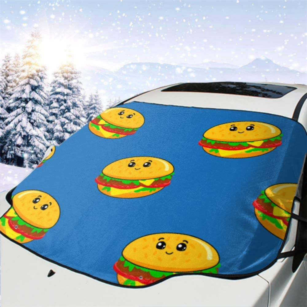 HRRPS Car Front Windshield Cover Burger W Max 90% OFF Girls Challenge the lowest price of Japan Weather Boys All