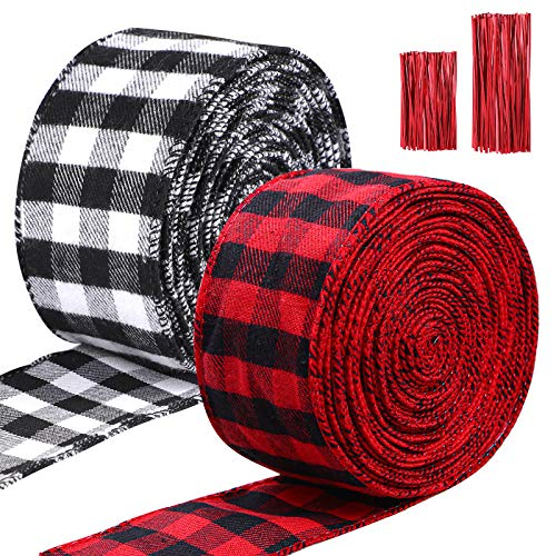 URATOT 2 Rolls Christmas Wrapping Wired Edge Ribbons Plaid Burlap Ribbon with Twist Ties for Craft Supplies Christmas Floral Bows Party Decoration