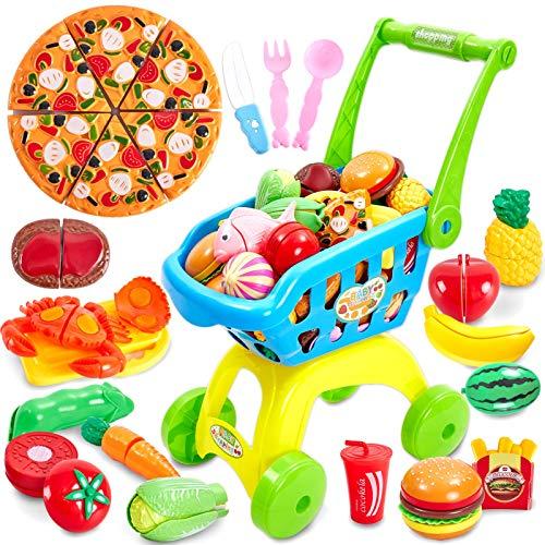Buyger 2 en 1 Supermercado Carrito de Compras Juguetes Comiditas Frutas y Verduras Juguete para Cortar Niños Niñas 3 4 5 Años Regalo