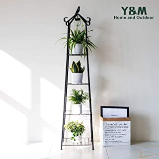4 Tier Multifunctional Plant Stand Flower Shelf,Ladder-Shaped Shelf Bookcase,with LED Light,Black