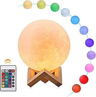 Moon Lamp, ALOVECO 3D Printed 16 Colors RGB Moon Light with Remote Control, Dimmable USB Rechargeable LED Lunar Moon Night Light with Stand for Kids Women Lover Birthday Gift (16 Colors with Remote)