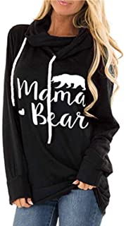 ALBIZIA Long Sleeve Sweatshirt for Women Mama Bear Printed Pullover Hoodie Tunic Top