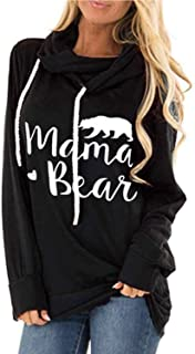 ALBIZIA Women's Long Sleeve Crew Neck Mama Bear Elbow Patch T Shirt Top