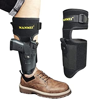 MANMEI Ankle Pistol Holster for Concealed Carry with Adjustability Nylon Belt and Leg Band with Two Bags for Gun and Extra Magazine,Knife or Other