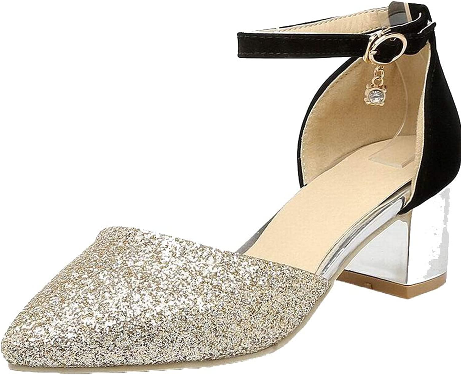 WeenFashion Women's Kitten-Heels Pointed-Toe Assorted color Buckle Sandals, AMGLX010417