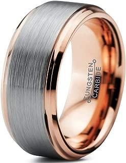 Tungsten Wedding Band Ring 10mm Men Women Comfort Fit 18k Yellow Rose Gold Black Grey Step Bevel Edge Brushed Polished