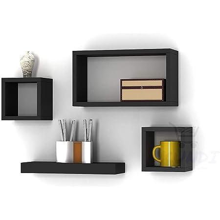 SKAFA Wooden Wall Mounted Shelves Set of 4 (Black)