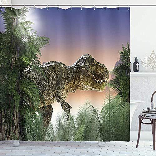 ASDAH Jurassic douchegordijn dinosaurus in de jungle bomen bos natuur bossen eng roofdier geweld doek stof badkamer Decor set met haken groene Beige 66 * 72in