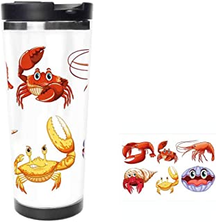 Illustration of Sea Animals Like Crab Hermit Crab Lobster Shells Shrimp PrintCoffee Cup,Drinking Cup, Female Male,Double stainless steel vacuum insulation,Thermos cup-18oz-511ML