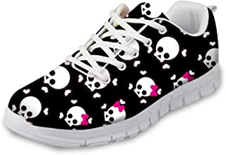 FOR U DESIGNS Cool Skull Print Women's Breathable Light Weight Lace Up Fashion Sneakers Comfortable Running Shoes