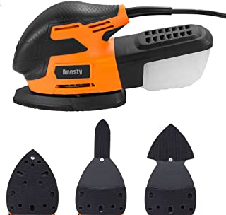 Anesty Mouse Detail Sander 13000 OPM Electric Sanding Machine with LED Light and Finger, Triangle Attachment for Wood Metal Plastic Paint Surface Wall