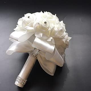 Antrader Artificial Wedding Holding Bouquet Flowers Roses Crystal Rhinestone Bridal Silk Throw Wedding Bridal Bouquet White