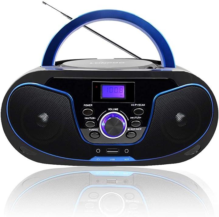 Radio portatile boombox, lonpoo lettore cd con bluetooth,usb, aux-in, uscita cuffie (nero 02) (nero+blu) B07P93QS5N