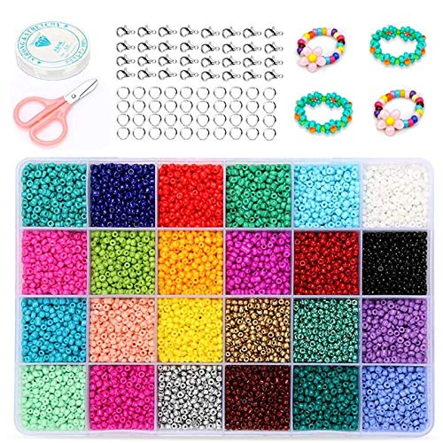 Mini Perline,24000 Pz 24 Colori 2mm Perle di Vetro Mini Perle di Vetro Bracciali Fai da Te,Perline Colorate, Perline Colorate per Fai da Te Mini Perle di Braccialetti, Collane, Bigiotteria(24 Colori)
