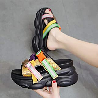 Platform Sandals for Women, Open Toe Strappy Jelly Shoes, Sporty Athleisure Chunky Platform Wedge Tourist Sandal,B,35