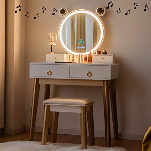lowest CHARMAID Vanity Set with Lighted Mirror and Wireless Speaker, 3 Color Touch Screen Dimming Mirror with 2021 Display, 4 Drawers with Jewelry Organizer, Bedroom Makeup Dressing Table sale with Cushioned Stool outlet sale