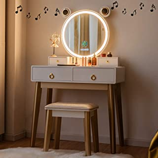 CHARMAID Vanity Set with Lighted Mirror and Wireless Speaker, 3 Color Touch Screen Dimming Mirror with Display, 4 Drawers ...