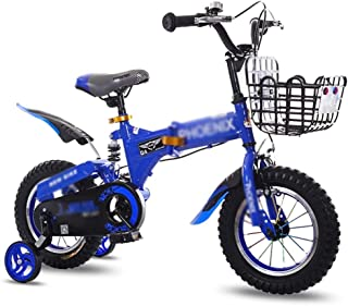 """Children's Bicycle Child Stroller 12"""" 14"""" Road Cycling Bicycle Damping Mountain Bike (Color : Blue, Size : 14 inches)"""