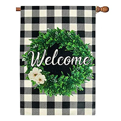 Unves Boxwood Wreath Winter Welcome Gaden Flag 28 x 40 Double Sided, Burlap Buffalo Check Plaid Summer Winter Spring Garden Flag Rustic Farmhouse Valentines Yard Decor, Large Welcome House Flag