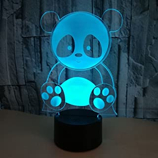 Optical Illusion 3D Panda Night Light 7 Colors Changing USB Power Touch Switch Decor Lamp LED Table Desk Lamp Brithday Children Kids Christmas Xmas Gift