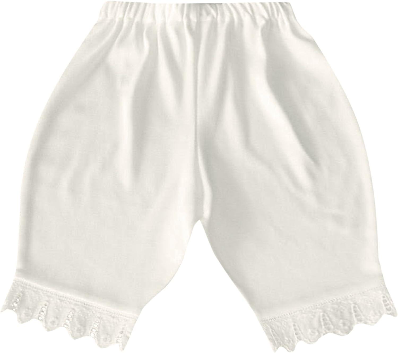 Victorian Organics Little Girl Bloomer White Organic Cotton Lace Toddler Short Pant