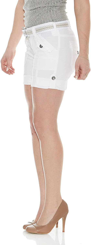 Suko jeans Women's Cargo Bermuda Shorts Adjustable Length with Belt - Pockets - Size 2-22 Plus