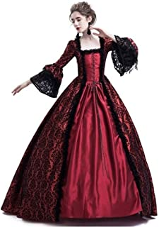 Womens Royal Retro Medieval Renaissance Dress,Lady Masquerade Princess Dress Lace up Floor Length Gown Cosplay Costume S-3XL