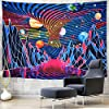 Amhokhui Trippy Mountain and Planet Tapestry Hippie Tornado Waves Tapestry Retro Abstract Space Landscape Tapestry Psychedelic Galaxy Stars Tapestry Wall Hanging for Room #2
