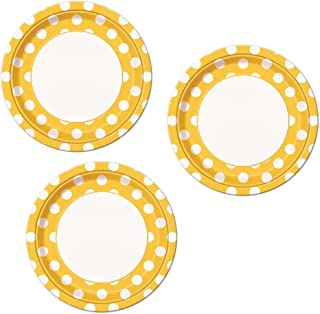 Yellow Polka Dot Party Lunch or Dinner Plates - 24 Plates