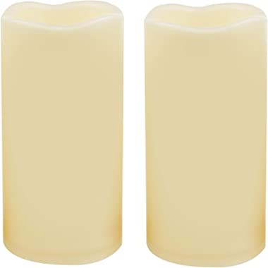 2 Waterproof Outdoor Battery Operated Flameless LED Pillar Candles with Timer Flickering Plastic Resin Electric Decorative Li