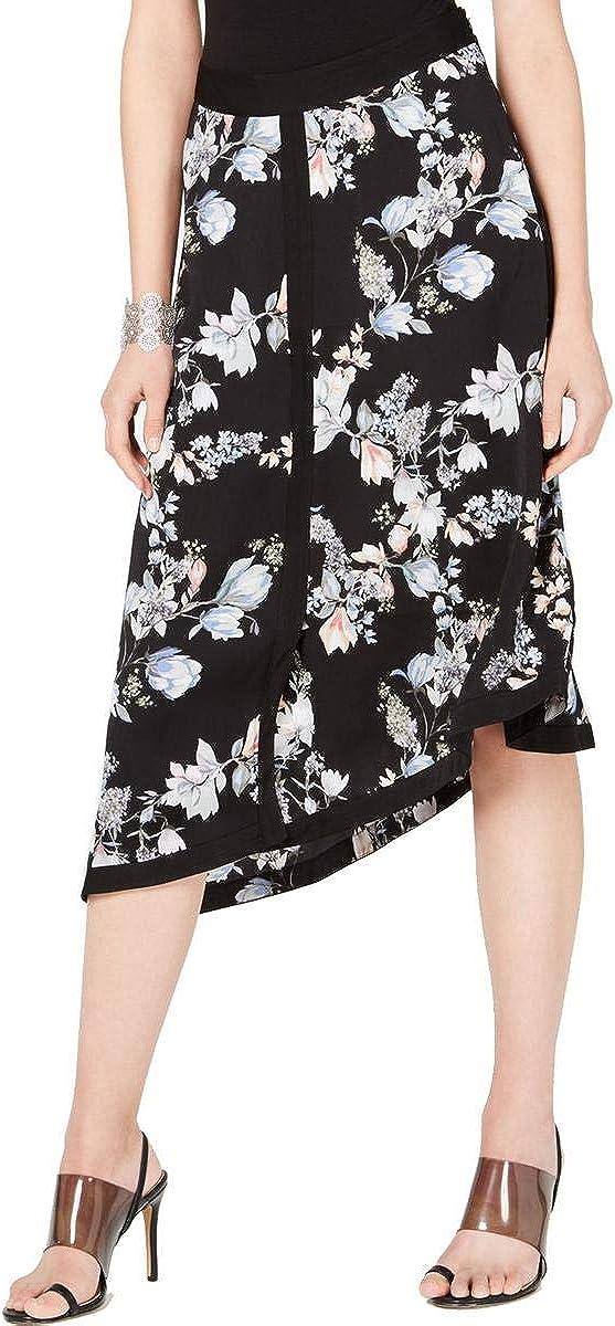 INC Women's Skirt Deep Black Size 6 Floral Border Asymmetrical Midi