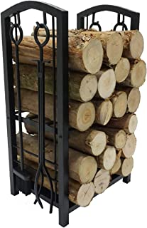 Fire Beauty Fireplace Log Rack with 4 Tools Fireside Firewood Holders Lumber Storage Stacking Black Wrought Iron Logs Bin Holder for Fireplace Tool