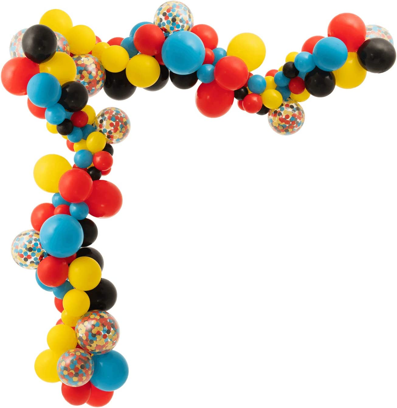 Superhero Theme Balloon Arch Garland Kit Blue Red Yellow Black Balloons with Confetti, 90 Pack with Decoration Strip, Balloon Dot, Instruction, for Birthday Kids Baby Shower Party Decorations
