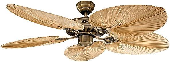 Certeo Ventilateur de plafond CLASSIC ROYAL - Ø hélice 1320 mm, ovale - palmier naturel/laiton ancien - Ventilateur Ventil...