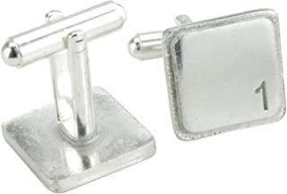 Square Cufflinks with '1' Engraved - 1st Anniversary