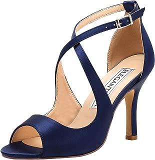 Women Peep Toe High Heel Sandals Cross Strappy Wedding Evening Dress Shoes Buckle Stain