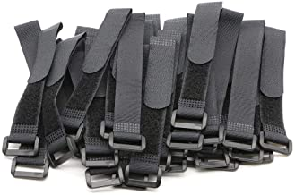 """Elantek 25pcs Black Reusable Fastening Cable Straps, Hook and Loop Cable Tie Down Straps 0.8"""" x 6"""""""