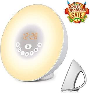 Sunrise Alarm Clock, Wake Up Light with 6 Nature Sounds, FM Radio, Color Light, Bedside Sunrise Simulator (White)