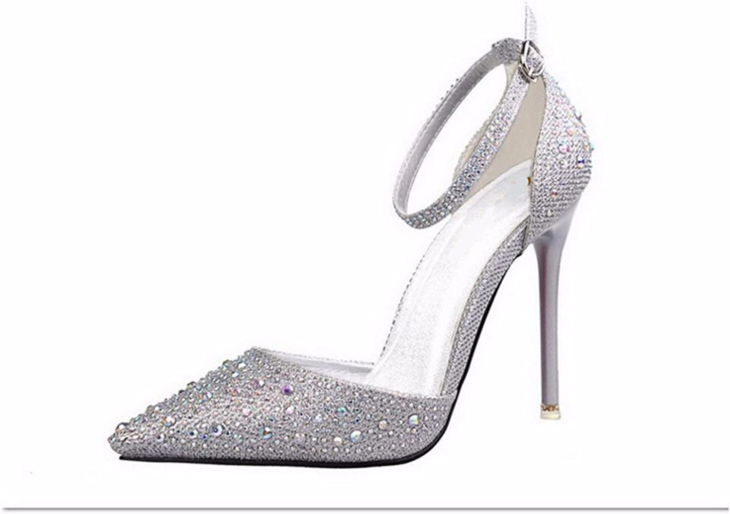 GTVERNH Women's shoes Summer Wild Crystal Pointed Buckles High Heels Sandals Girls Simple Thin Sexy shoes.